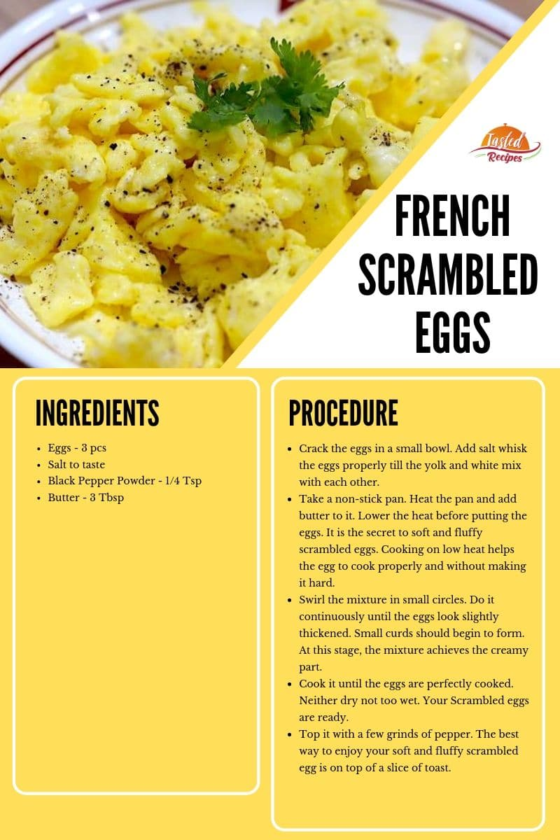 french scrambled eggs recipe card