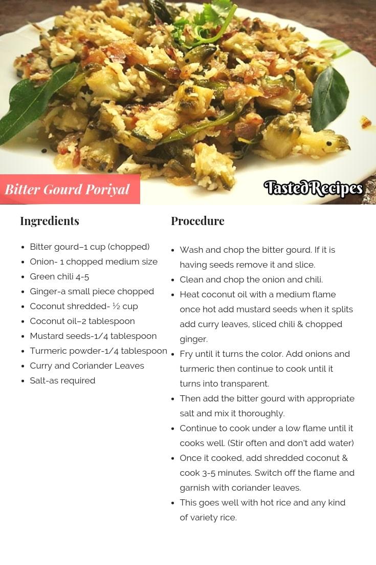 Bitter Gourd Poriyal Recipe
