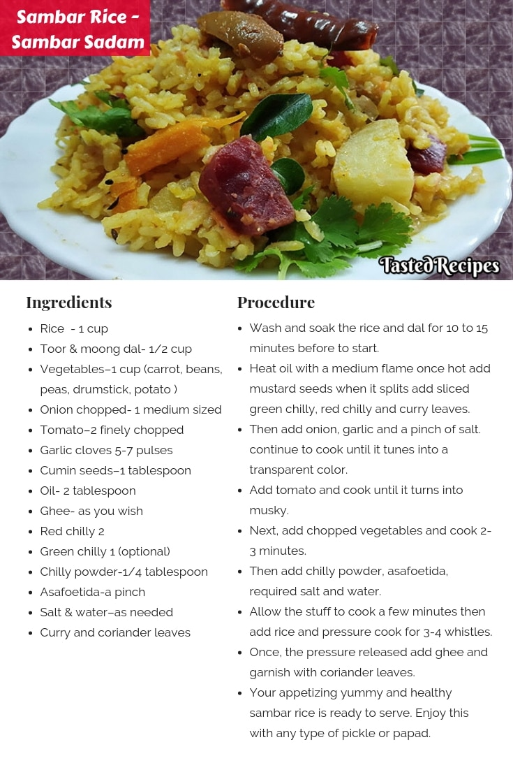 Sambar Rice Recipe Card