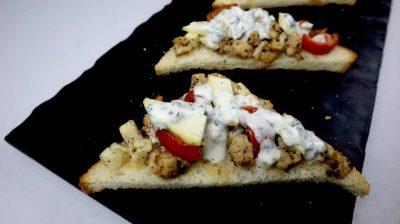 chicken greek open toast