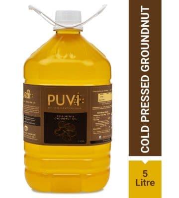 Puvi 5L Cold Pressed Groundnut:Peanut Oil (Virgin, Chekku:Ghani) - 5 Litre