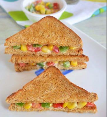 corn and capsicum sandwich
