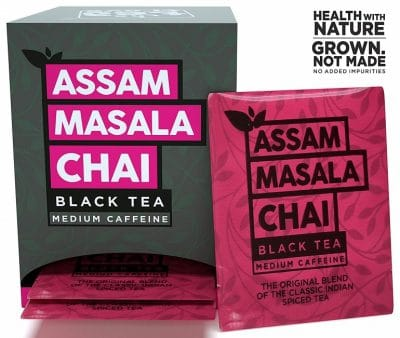 The Tea Trove Assam Black Masala Chai Tea Bags, Organic Cinnamon, Cardamom, Clove and Ginger for Rich and flavorful Hot Indian Slim Tea or Iced chi Tea for