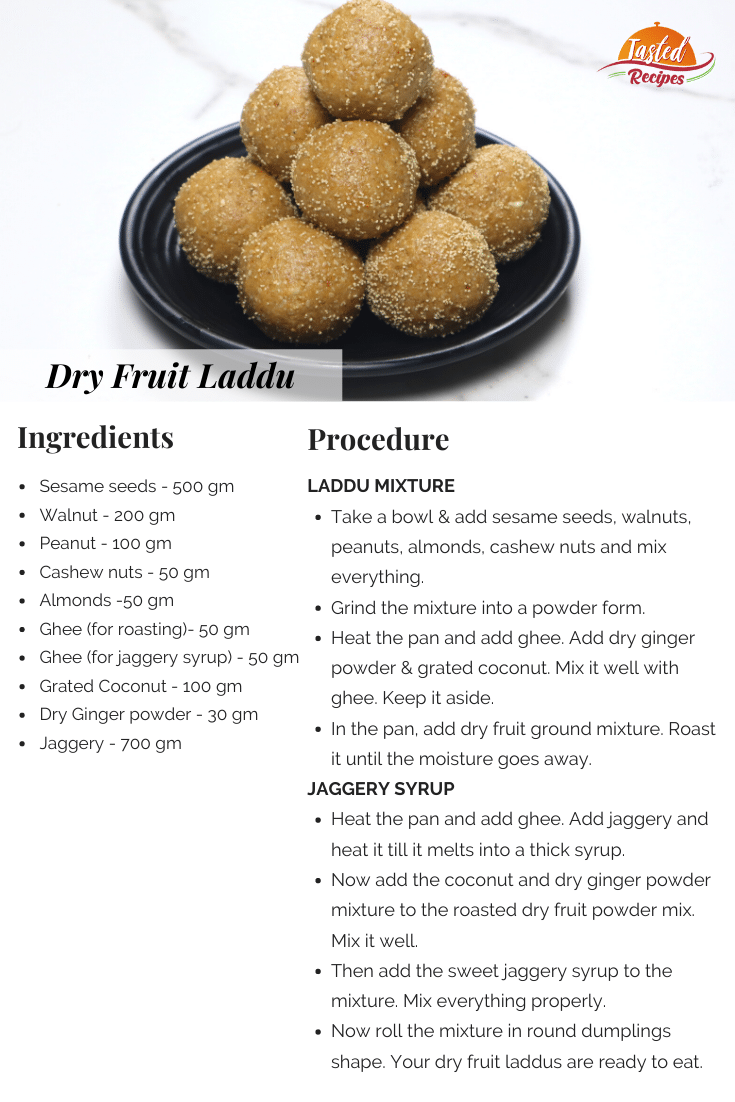Dry Fruit Laddu Recipe Card