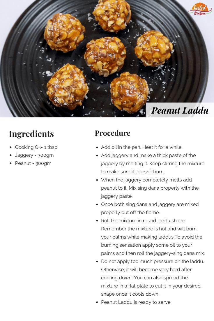 Peanut Laddu Recipe Card