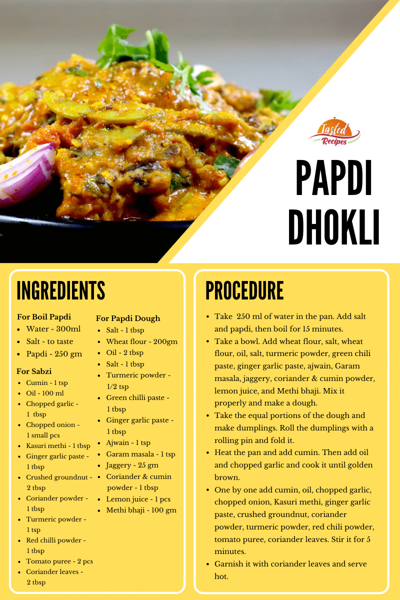 papdi dhokli recipe card