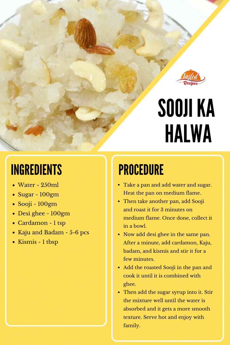 sooji ka halwa recipe card