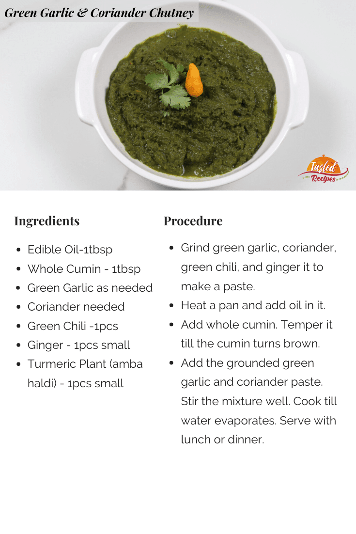 Green Garlic Chutney Recipe Card