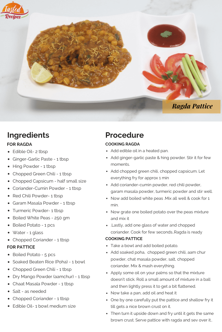 Ragda Pattice Recipe Card