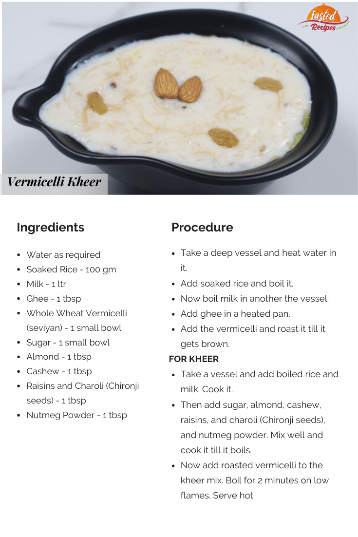 Vermicelli Kheer Recipe Card