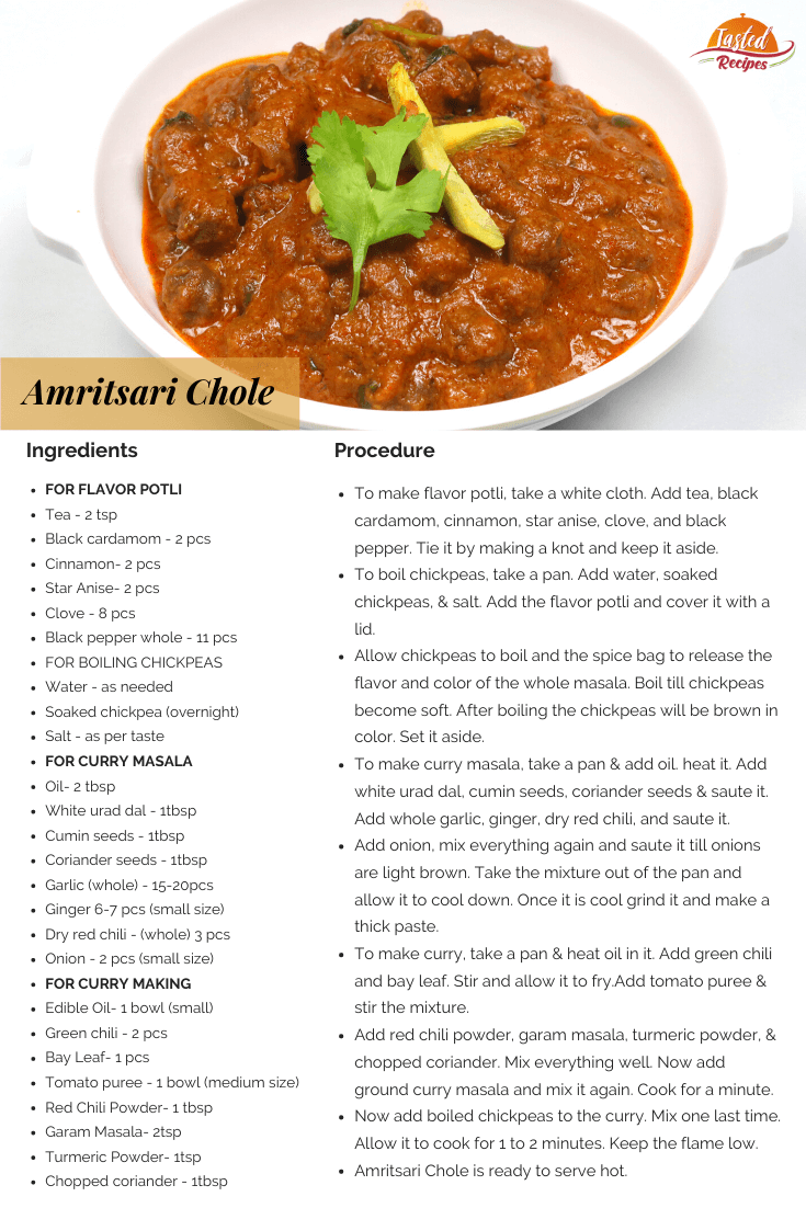 amritsari chole recipe card