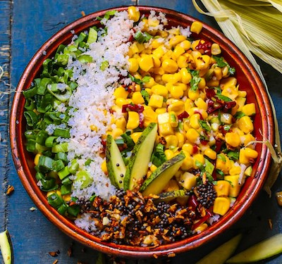 corn salad with coconut raw mango