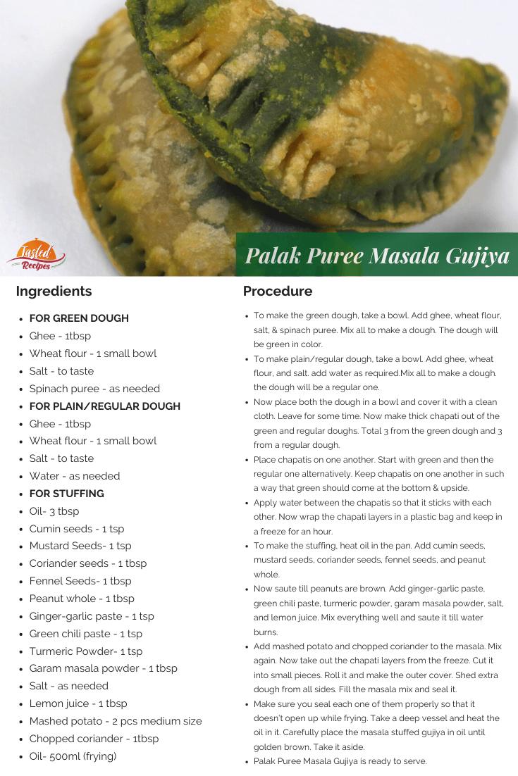 palak puree masala gujiya recipe card