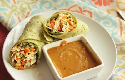 the spinach wrap with peanut sauce