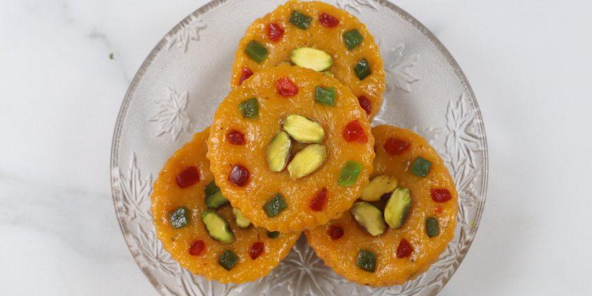 mango cupcake burfi