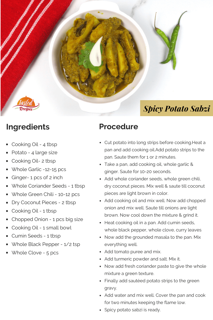 spicy potato sabzi recipe card