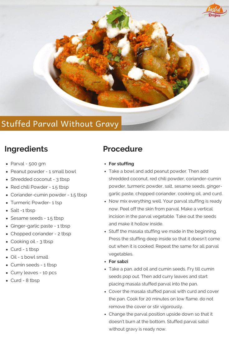 stuffed parval without gravy recipe card