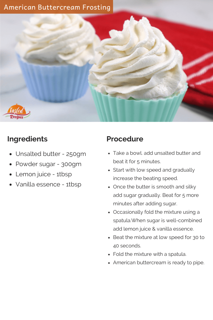 american buttercream frosting recipe card