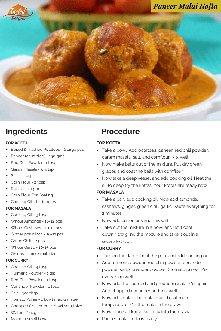 paneer malai kofta recipe card
