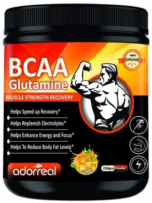 Adorreal BCAA with Glutamine For Muscle Recovery & Endurance BCAA Powder, 10 Grams of Amino Acids, Keto Friendly, Caffeine Free-250gms