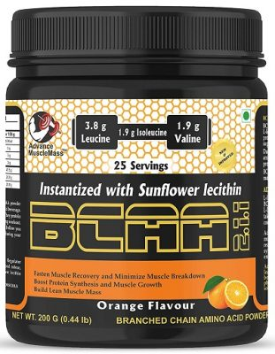 Advance MuscleMass BCAA 2 1 1 Energy drink for Workout 7.6 G BCAA 3.8 G Leucine 1.9 G Iso-Leucine 1.9 G Valine Instantized with Sunflower Lecithin Orange Flavour 200 GM 0.44 lb