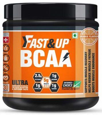 Fast&Up Ultra Instantized BCAA - BCAA - Amino Acid - Glutamine - Citrulline - L-Arginine - Taurine - 450 Gms - 30 servings - Orange Flavour