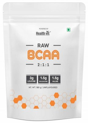HealthVit Pure Series Raw BCAA 6000mg 211 with Leucine, Isoleucine, Valine Powder -180 gm Unflavoured