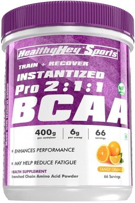 HealthyHey Sports BCAA Powder Instantized 211, Branched Chain Amino Acids - 66 Servings (Mango Candy, 400 g)
