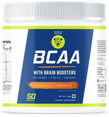 Muscle Asylum BCAA - (50 Servings, Orange Mango) with BRAIN BOOSTERS -100% Micronized Vegan, Recovery, Memory, Focus