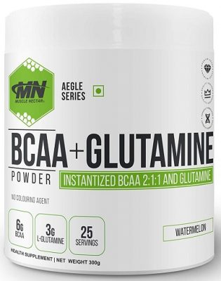 Muscle Nectar (MN) BCAA+Glutamine, Watermelon, 300 gm, 25 Servings