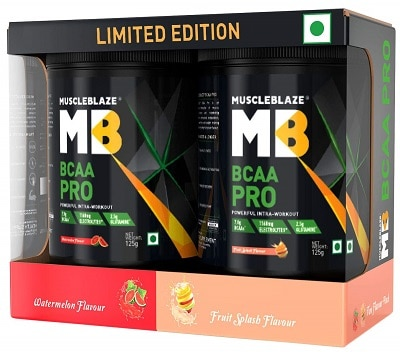 MuscleBlaze BCAA Pro Amino Acid Powder (Watermelon, Fruit Splash & Green Apple, 21 Sachet, 21 Servings)