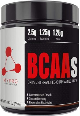 Mypro Sport Nutrition Premium BCAA's with 5G of Pure Proven 211 Ratio Muscle Recovery-Muscle Protein Synthesis-Lean Muscle-Improved Performance-Hydration-50 Servings-250 Gm (Blue Raspberry)