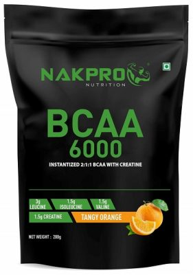 NAKPRO BCAA Supplement 211, 6g of BCAA Amino Acids with Creatine, Post Workout Recovery Drink for Muscle Recovery and Lean Muscle Building for Men & Women Tangy Orange - 200g (20 Servings)