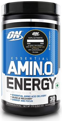 Optimum Nutrition (ON) Amino Energy BCAA Drink - 30 Servings (Blue Raspberry)