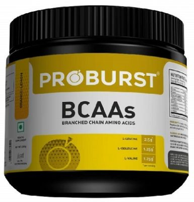 Proburst 100% Pure BCAA Powder Supplement For Pre , Post or Intra Workout 250gm - Orange Lemon