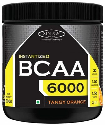 Sinew Nutrition Instantized BCAA 211, 200gm0.44lb (Tangy Orange) - 25 Servings