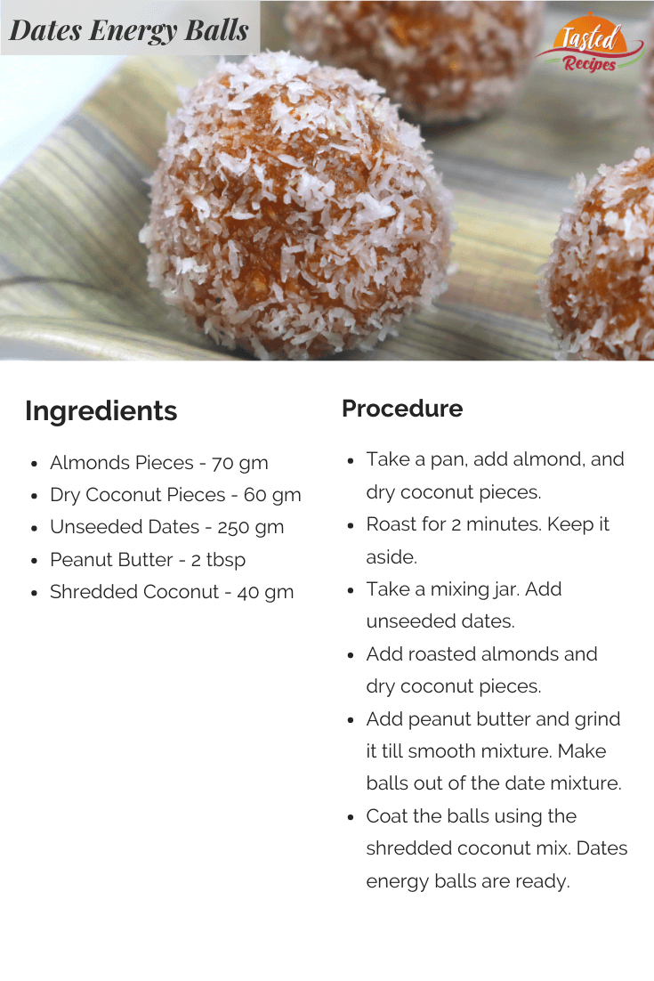 dates almond coconut energy balls recipe card