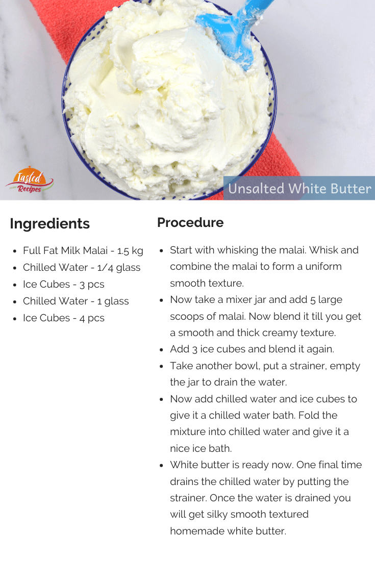unsalted white butter recipe card
