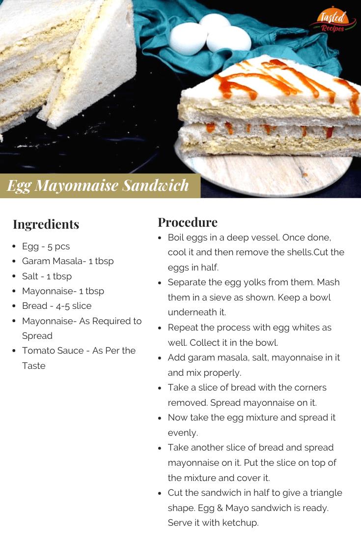 Egg Mayonnaise Sandwich Recipe Card