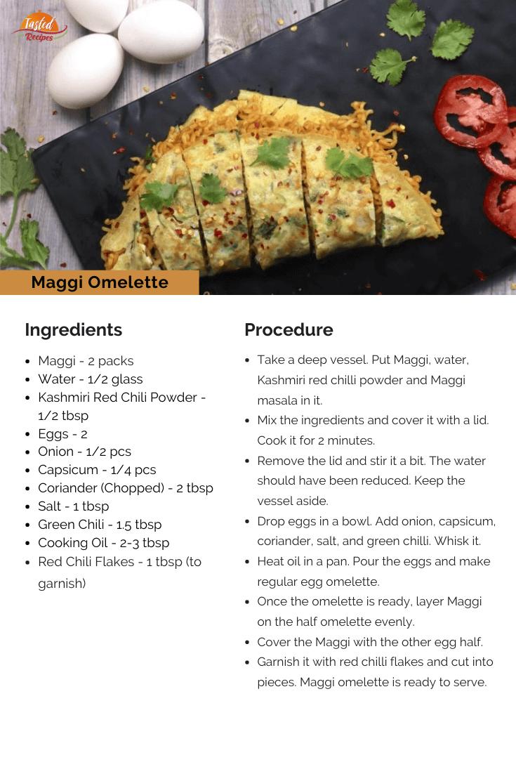 Maggi Omelette Recipe Card