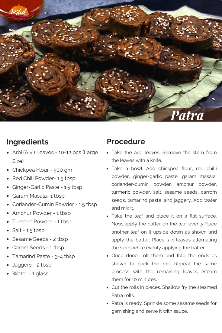Patra Recipe Card