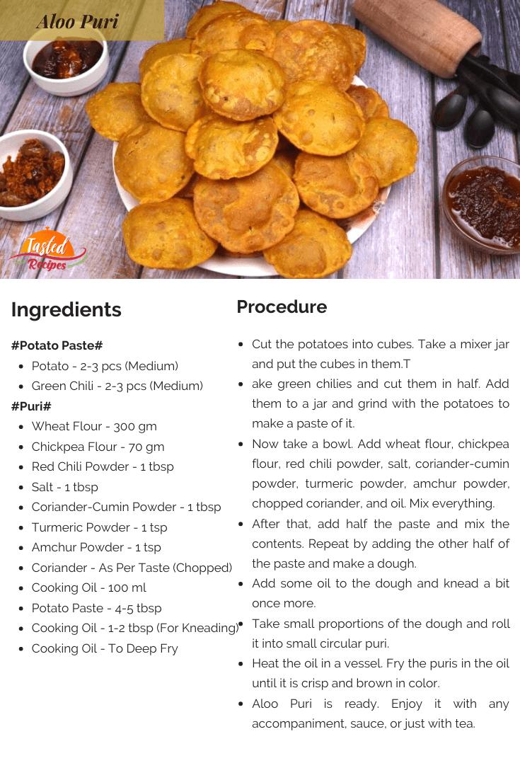 Aloo Puri Recipe Card