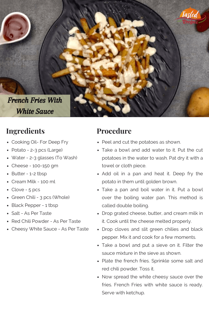 French Fries With White Sauce Recipe Card