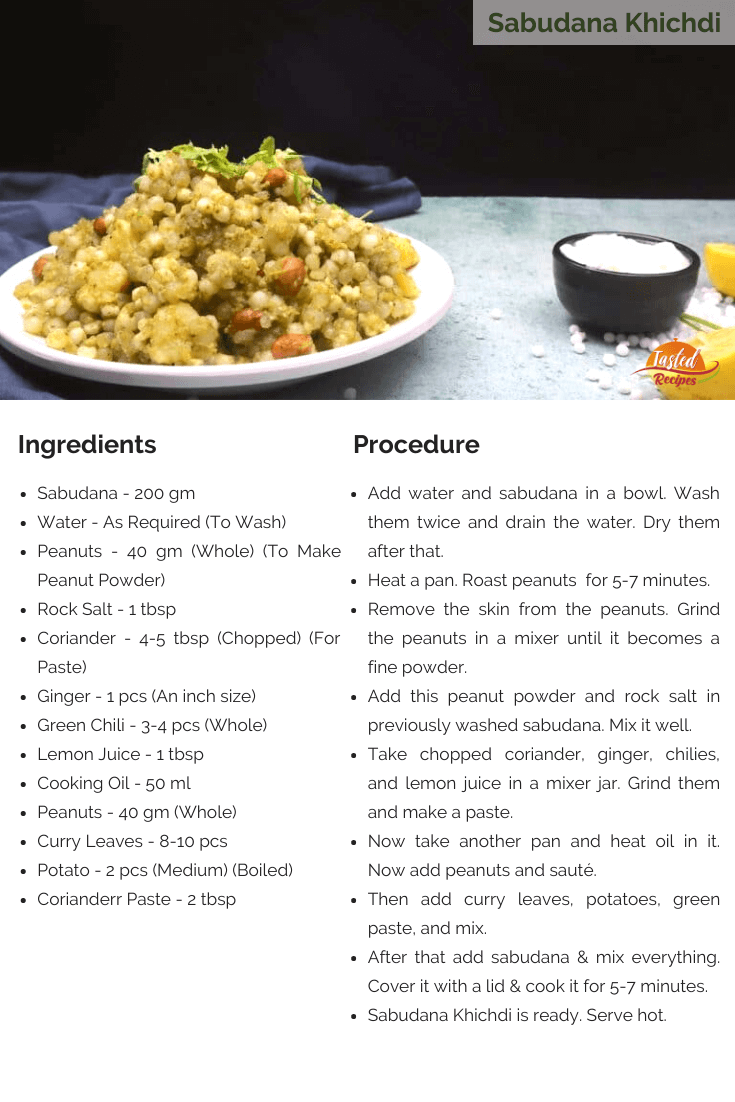 Sabudana Khichdi Recipe Card