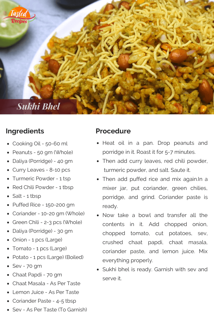 Sukhi Bhel Recipe Card