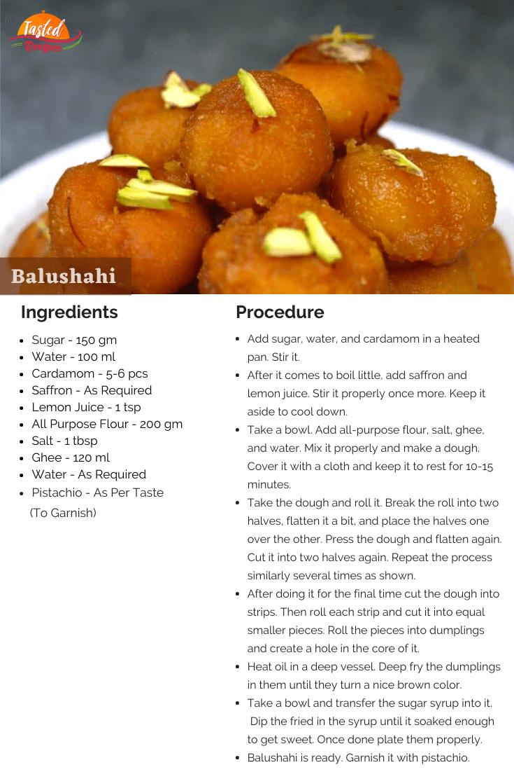 Balushahi Recipe Card
