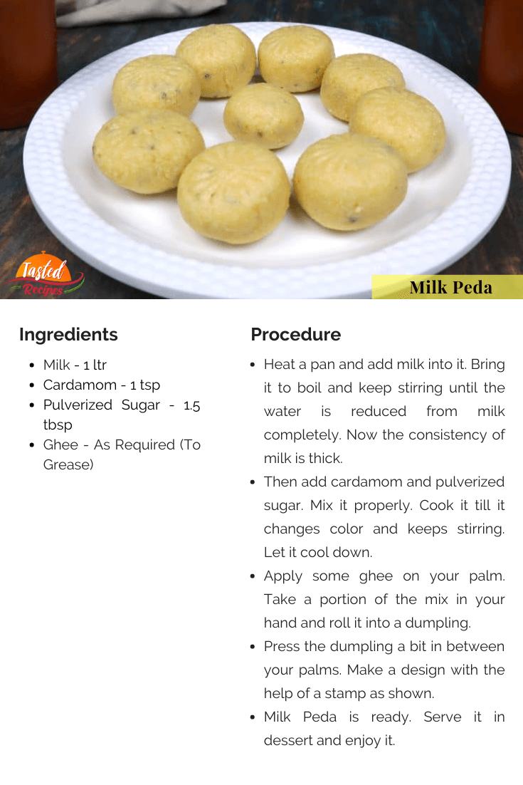 Milk Peda Recipe Card