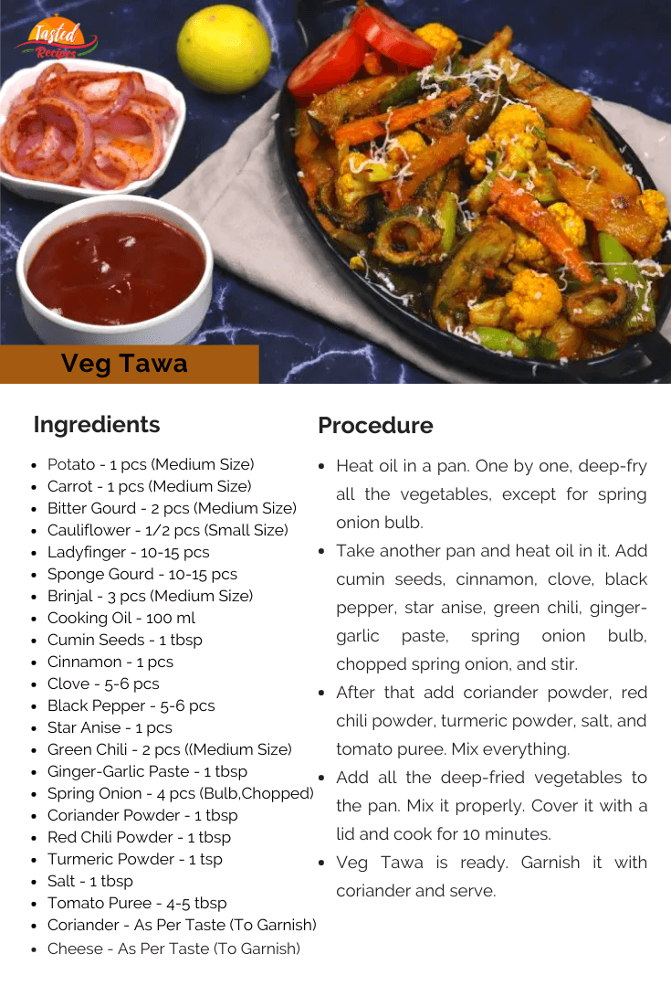 Veg Tawa Recipe Card