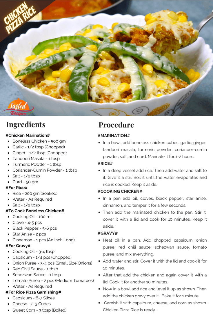 Chicken Pizza Rice Recipe Card
