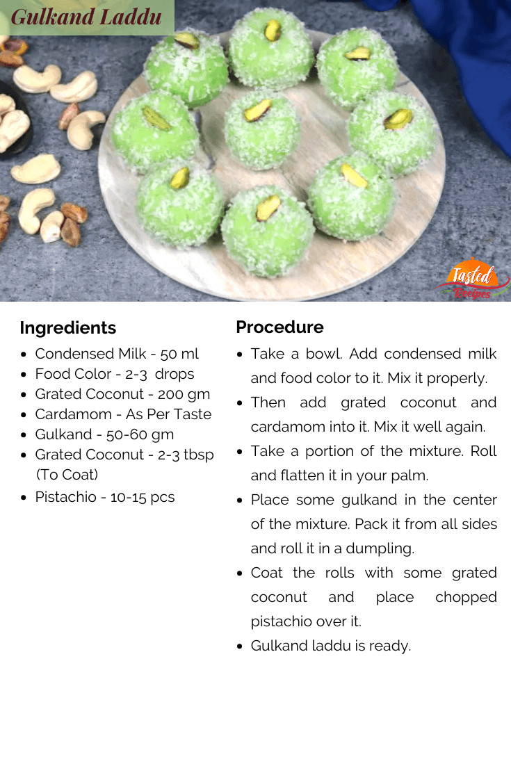 Gulkand Laddu Recipe Card